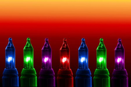 colorful flashing lights on color background with text copy space