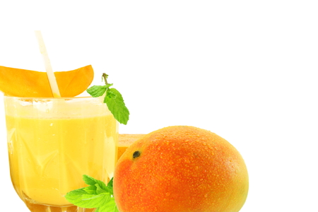 fresh mango juice with fruit Healthy natural food concept Stock Photo