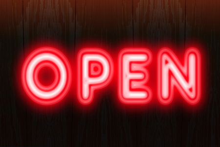open neon sign for welcome to customers concept