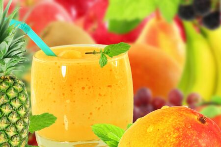 mango pineapple multy fruit juice smoothie Yogurt or milkshake with fruit