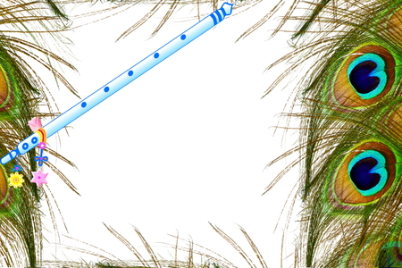 peacock feather and flute over white background with text copy space