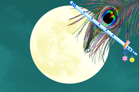 peacock feather and flute over moon background with text copy space