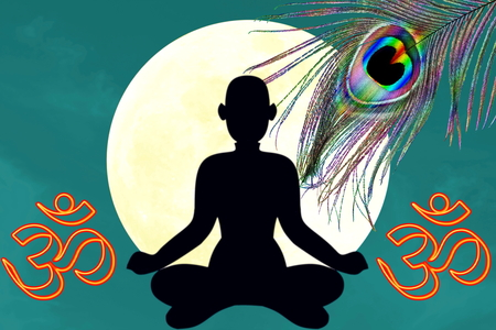 sanskrit: yoga position with oim icon and peacock feather over moon background Stock Photo