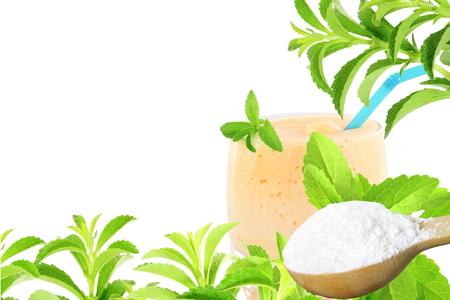 Frische Grüne Stevia Rebaudiana Und Extrakt Pulver In Holzlöffel Und ...