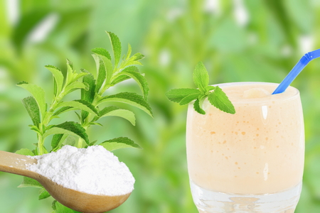 bluer: fresh green Stevia rebaudiana and extract powder in wooden spoon with drinks glass and text copy space on bluer background