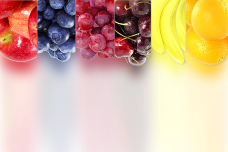 Fruit frame on bluer background Healthy eating and dieting food concept with space for text Stock Photo
