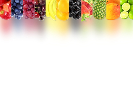 Fruit frame border on white background Healthy eating and dieting food concept with space for text