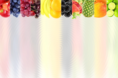 bluer: Fruit frame on bluer background Healthy eating and dieting food concept with space for text Stock Photo