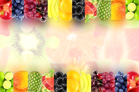 Fruit frame on bluer background Healthy eating and dieting food concept with space for text 写真素材