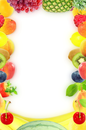 Fruit frame on white background Healthy eating and dieting food concept with space for text