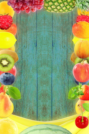 Fruit frame on wooden background Healthy eating and dieting food concept with space for text Stock Photo
