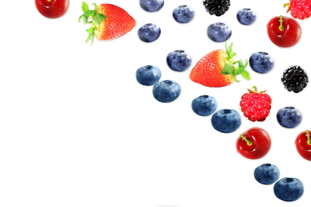 mixed fruit blueberry strawberry raspberry black berry cherry on white background with space for text