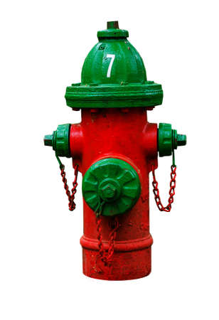 fire plug: Red fire hydrant with green cover  isolated on white.