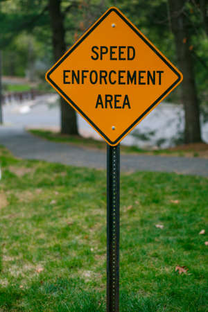 road sign speed enforcement area