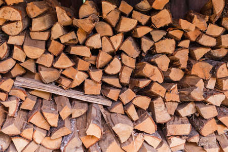 Provision of the stacked firewood Stok Fotoğraf