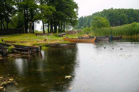 Old wooden boats on the shore of the lake  near reed Stockfoto