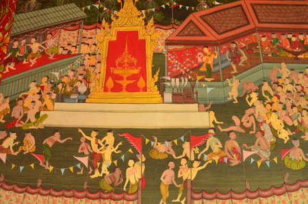wall mural: Thai Mural Painting ---this PUBLIC (public domain) mural painting shows traditional performance, 300 years ago Stock Photo