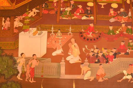 thai believe: Thai Mural Painting--- this PUBLIC (public domain) mural painting shows traditional lifestyle in the royal court inThailand, 300 years ago