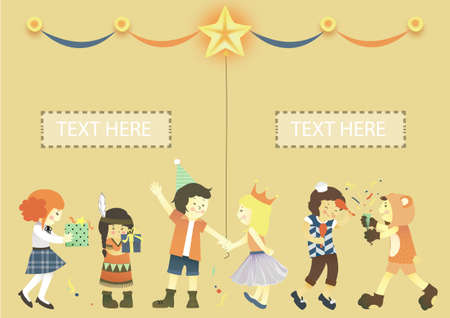 Holiday comes, and kids are all happy! There are only some special occasion throughout the year for kids to have a party such as Christmas, New Year, or even their birthdays! Stock Vector - 11666328