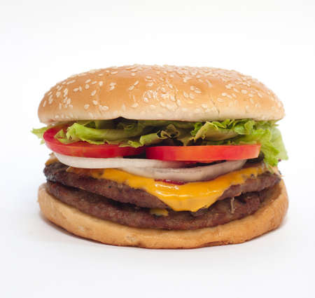 steak sandwich: Hamburger on white background. Look tasty. 1