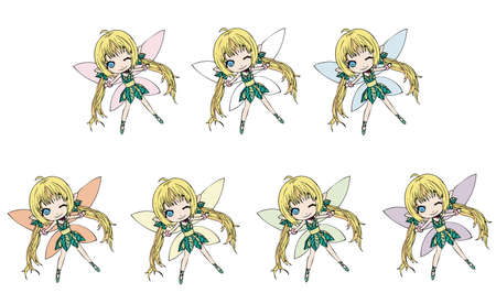 Fairies collection (different wing colors) Vector