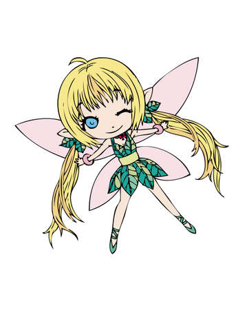 Single Fairy spreading her wings Vector