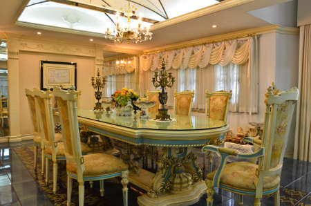 dinning table: Grand Dinning Room--curtain side 2