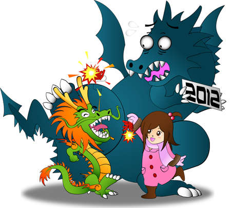 Chinese new year vs. Zodiac year 2012 !! The symbol of these festivals are dragons. However, even the gigantic 2012 dragon can Stock Vector - 12058306