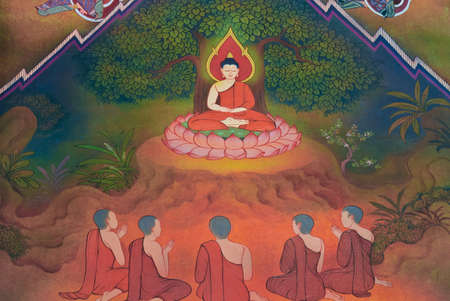 severely: The Buddha have five companions following him at first. They all practices severely to attain enlightenment.  Editorial
