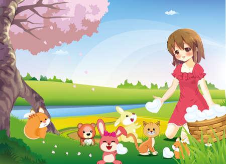 gentillesse: Une jeune fille partage ses c?urs purs � travers le monde. Non seulement l'homme recevrez eux, trop d'animaux. Illustration