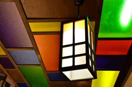 Colorful lamp on ceiling, Japanese style photo