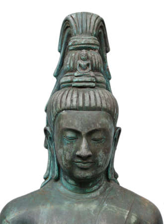 The isolation of the Buddha statue is taken in