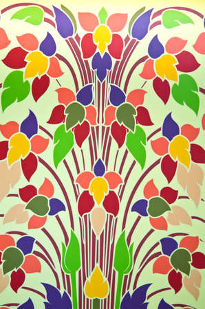 thaiart: colorful flowers using Thai-art style to create a background