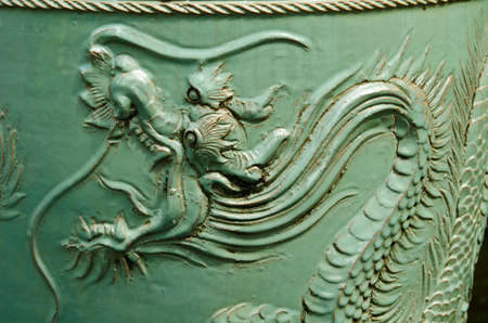 Old Chinese urn with a dragon pattern. Dragon is a sacred animal that Chinese people respect. photo