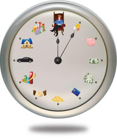 Czas to pieniądz *** Ten specjalny zegar pokazuje, jak człowiek może osiągnąć swój cel w finansowo-12 okresów życia czas. Skrótem jest ostatecznym celem, podczas gdy długo ręka pokazuje ich aktualny status. Tak więc ręka będzie odrębny dla każdej osoby