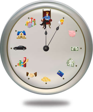 sucess: Time is money ***This special clock shows how a person can achieve their financial-goal in 12 periods of life-time. The short-hand is the FINAL goal, while the long-hand shows their current status. So the hand will be distinct for each person Illustration