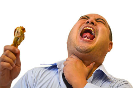 suffocate: Stuck in Throat 2  severe pain   Dont eat to fast   Stock Photo