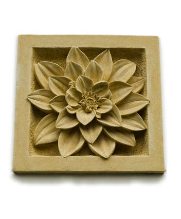 carving: A stone inscription of a Chrysanthemum flower