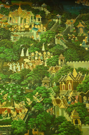 thai believe: Thai Mural painting from the ancient temple 300 years ago, showing buddhas lifestyle via Thai art.