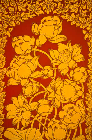 Ancient Thai Mural flower painting of flowers on the temple  fade version  Stock Photo