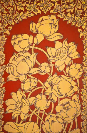 Ancient Thai Mural flower painting of flowers on the temple photo