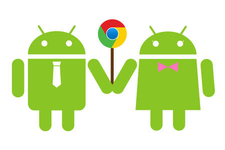 Andriod couple holding a lolipop Chrome Editorial