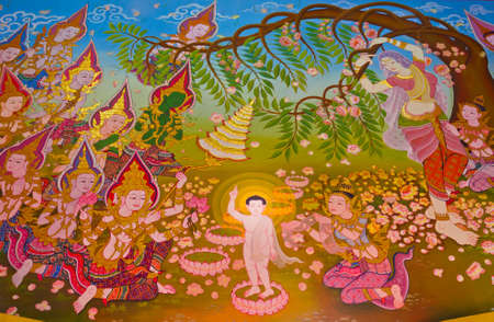 joyfully: When the Buddha s is born, he walk seven steps and the lotus grow on his path  People and angels celebrate joyfully