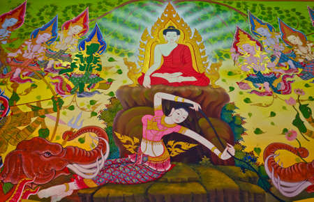 wall mural: Goddess of the earth protecting the Buddha after enlightenment by squeezing water to emliminate Mara 2