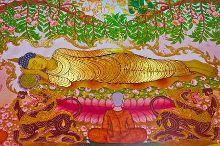 The Buddha die peacfully, entering nirvana and end the cycle of Samsara  birth and death