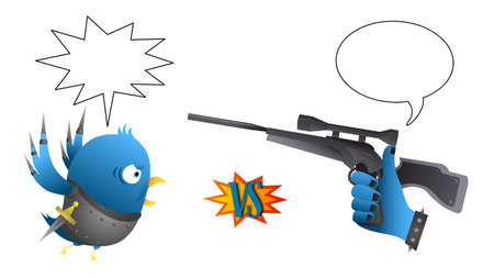Parody - Social network rivals  Bird vs  Like  - with speech bubble Vector