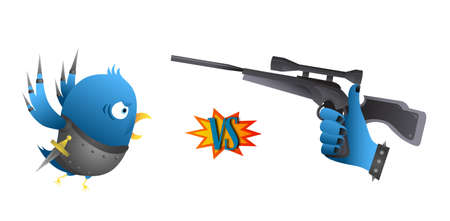 Parody - Social network rivals  Bird vs  Like   Vector