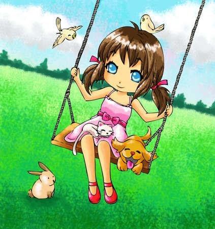 Cute 2d girl on the swing with her dog and other animals  photo