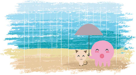 An Octopus is holding umbrella for a little kitten. Cute couple with watercolor background  Stock Photo - 12907941