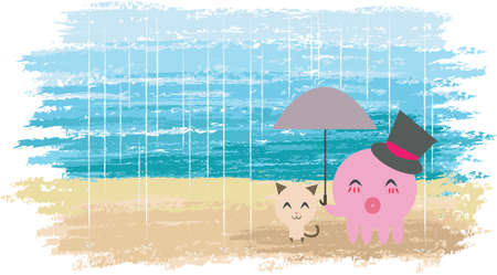 An Octopus is holding umbrella for a little kitten. (with hat) Cute couple with watercolor background.  photo